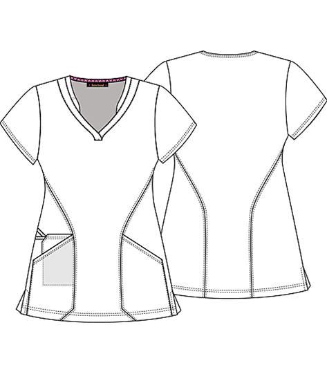 HeartSoul Women's V-Neck Print Scrub Top-HS624