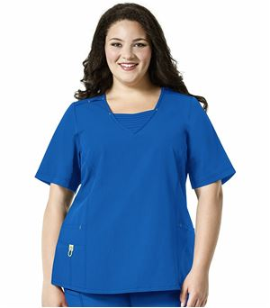 Wonderwink PLUS Women's V-Neck With Inset Scrub Top-6305