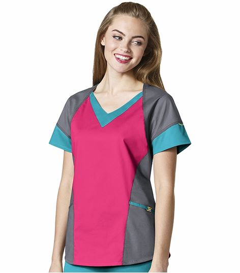 Wonderwink 7 Flex Women's Tri-Color V-Neck Scrub Top-6703
