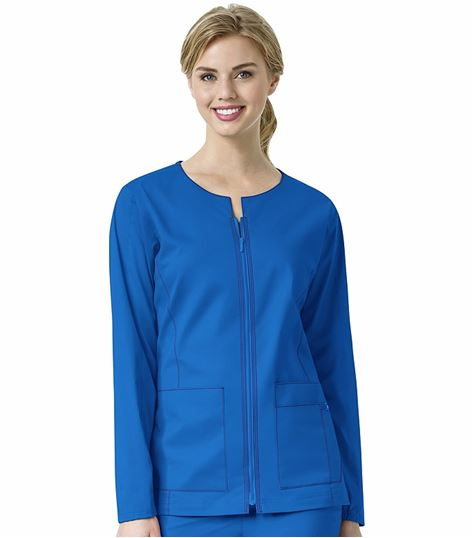 Wonderwink 7 Flex Women's Solid Zip Up Warm-Up Scrub Jacket-8701