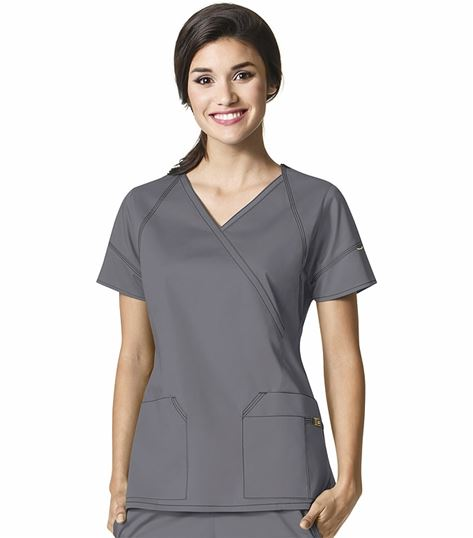 Wonderwink 7 Flex Women's Mock Wrap Solid Scrub Top-6702