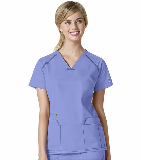 Wonderwink 7 Flex Women's Solid V-Neck Scrub Top-6701