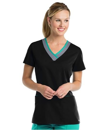 Grey's Anatomy Active Women's Color Block V-Neck Scrub Top-41399