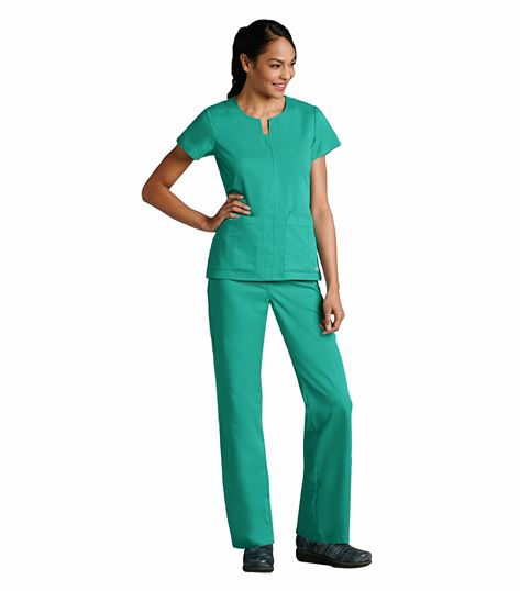 Grey's Anatomy Women's Notched Neck Solid Scrub Top-41445
