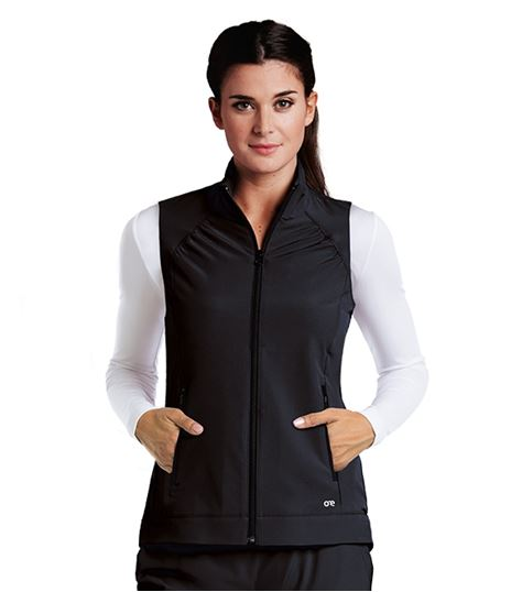 Barco One Women's Solid Zip Up Scrub Vest-5406
