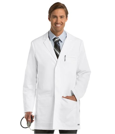 "Grey's Anatomy Men's 35"" Side Vent White Lab Coat-0917"