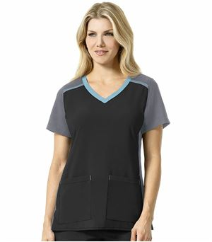 Carhartt Crossflex Women's Color Block Stretch V-Neck Scrub Top-C12410