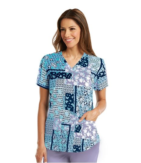 Barco NRG Women's Printed V-Neck Scrub Top-3157