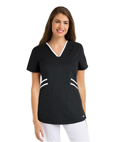 Grey's Anatomy Active Women's Marquis V-Neck Scrub Top With Contrast Trim-41458