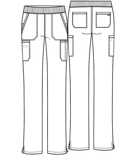 Cherokee Workwear Mid Rise Straight Leg Pull-on Cargo Pant WW210T