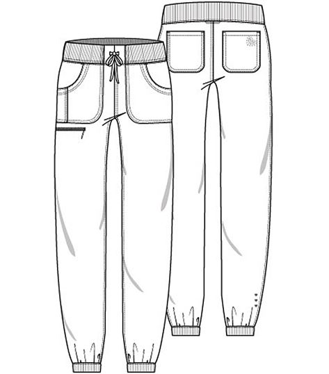 HeartSoul Women's Petite Jogger Scrub Pants With Drawstring-HS030P