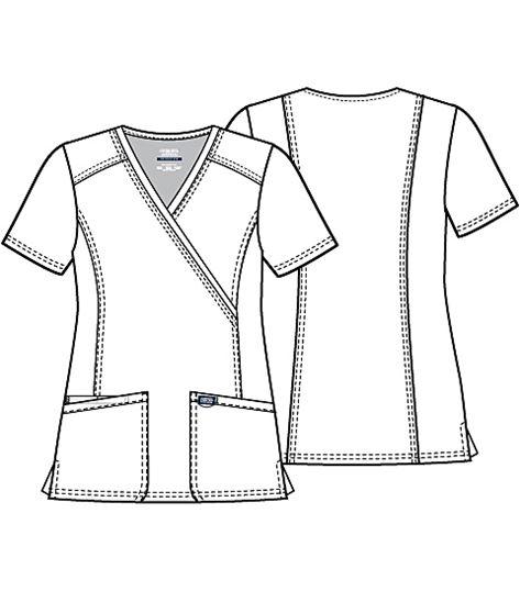 Cherokee Workwear Women's Mock Wrap Solid Scrub Top-WW610