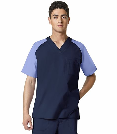 WonderWink WonderFLEX Men's Color Block Scrub Top-6818