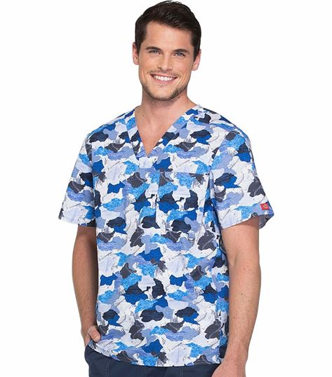 Dickies Genflex Men's Camo V-Neck Scrub Top-81720