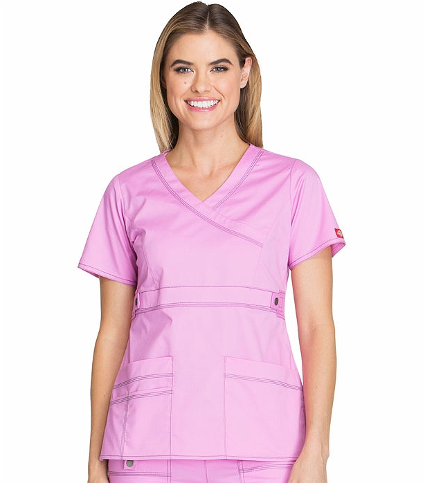 b93c15cf54e Dickies GenFlex Women's Mock Wrap Solid Scrub Top-817355 | Medical Scrubs  Collection