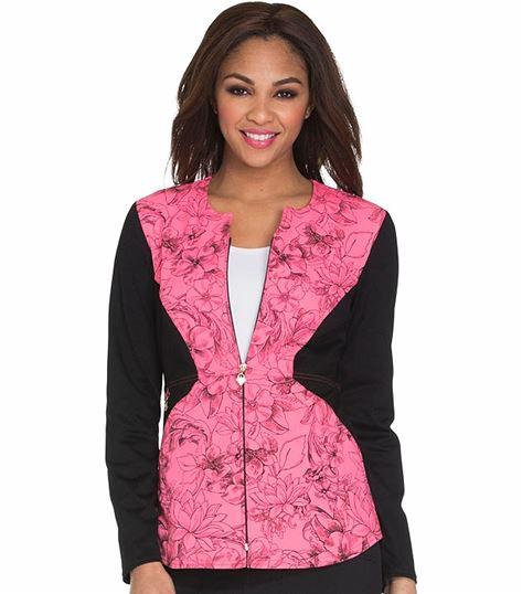 Careisma Women's Zip Front Print Warm Up Scrub Jacket-CA304