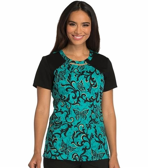 Careisma Women's Round Neck Print Scrub Top-CA614
