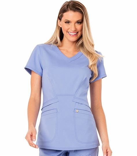 Careisma Women's V-Neck Solid Scrub Top With Peplum Styling-CA618A