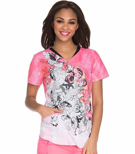 Careisma Women's Mock Wrap Printed Scrub Top-CA619
