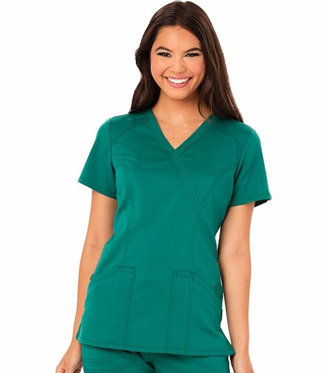 Code Happy Women's Solid Mock Wrap Scrub Top-CH601A