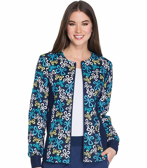 Cherokee Women's Zip Up Knit Panel Warm-Up Scrub Jacket-CK307