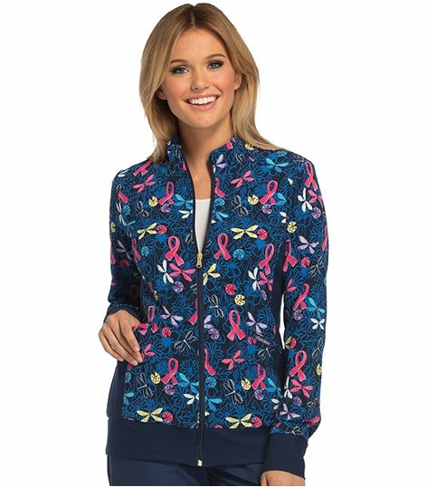 Cherokee Flexibles Women's Printed Zip Up Warm-Up Scrub Jacket-CK308