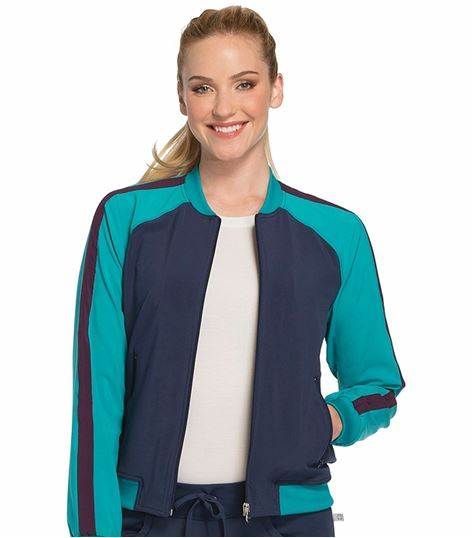 Cherokee Infinity Women's Zip-Up Colorblock Bomber Scrub Jacket-CK310A