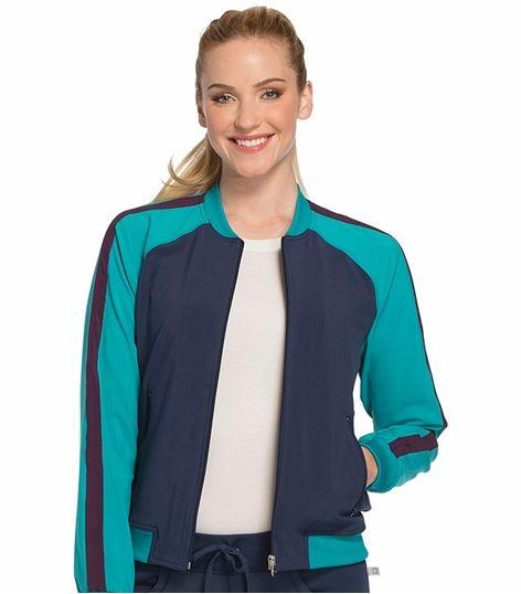 Cherokee Infinity Women's Zip-Up Colorblock Bomber Scrub Jacket-CK310A