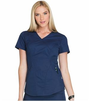 Cherokee Luxe Women's  Mock Wrap Solid Scrub Top-CK603