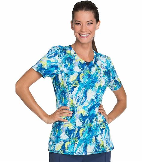 Cherokee Women's Round Neck Print Scrub Top With Pockets-CK609A