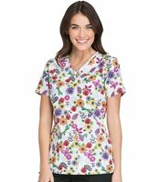 Cherokee Women's V-Neck Printed Scrub Top-CK621