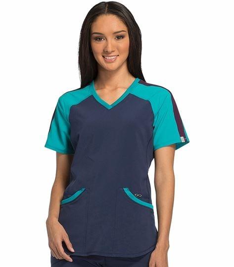 Cherokee Infinity Women's Antimicrobial Colorblock V-Neck Scrub Top-CK690A