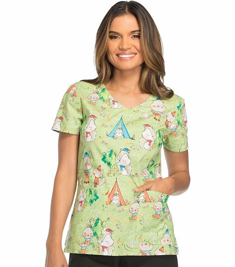 Dickies EDS Women's V-Neck Print Scrub Top-DK700