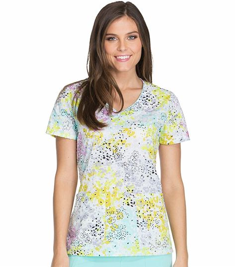 Dickies Women's V-Neck Printed Scrub Top-DK701