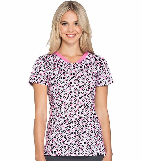 HeartSoul Fashion Shaped V-Neck Printed Scrub Top-HS601