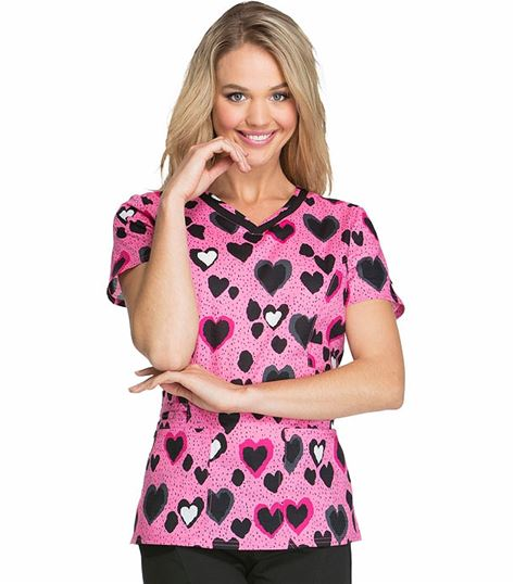 HeartSoul Women's V-Neck Print Scrub Top-HS617
