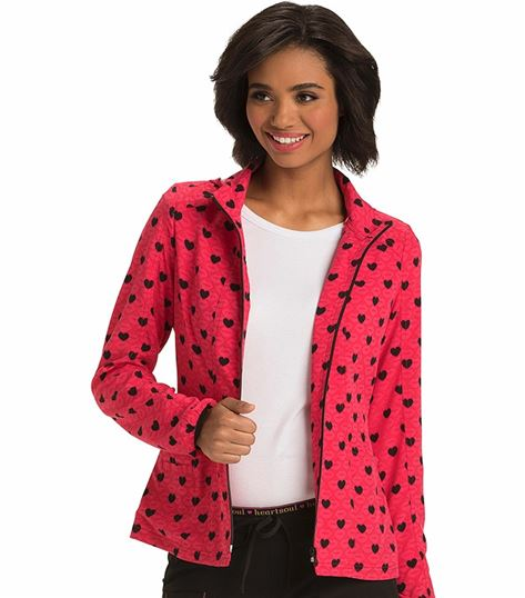 HeartSoul Women's Print Hooded Warm-Up Scrub Jacket-HS618