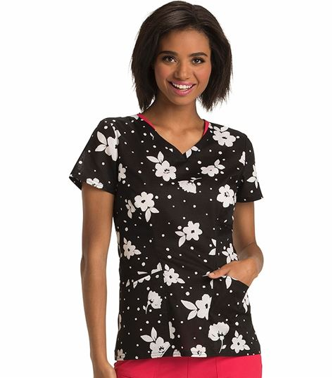 HeartSoul Women's V-Neck Print Scrub Top-HS624