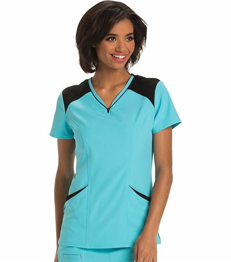 HeartSoul Women's Contrast Color Zipper Detailed V-Neck Scrub Top-HS652