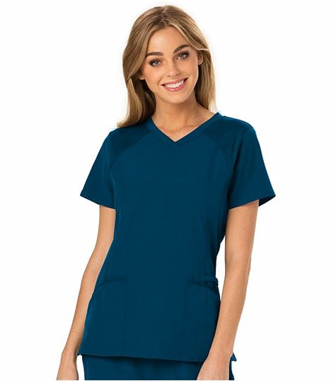 HeartSoul Women's Junior Fit Solid V-Neck Scrub Top-HS660
