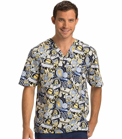 Tooniforms Disney Unisex Minions V-Neck Scrub Top-TF651