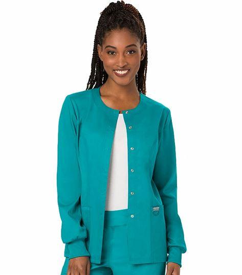 Cherokee Workwear Revolution Women's Snap Front Warm-Up Scrub Jacket-WW310