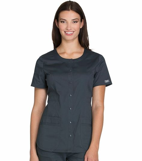 Cherokee Workwear Core Stretch Women's Snap Front Scrub Top-WW683