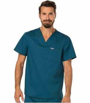 Cherokee Workwear Revolution Men's V-Neck Scrub Top-WW690 (Caribbean Blue - Large)