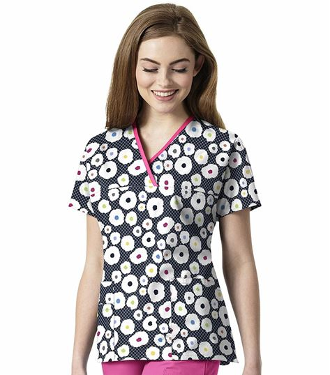 WonderWink Origins Women's Printed Mock Wrap Scrub Top-6027