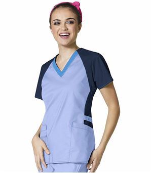 Wonderwink FLEX Women's Color Block V-Neck Scrub Top-6608