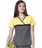 WonderWink Origins Women's Mock Wrap Tri-Color Scrub Top-6026C