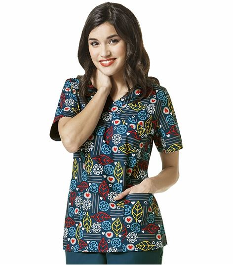 Wonderwink Zoe+Chloe Women's Printed Mock Wrap Scrub Top-Z14202