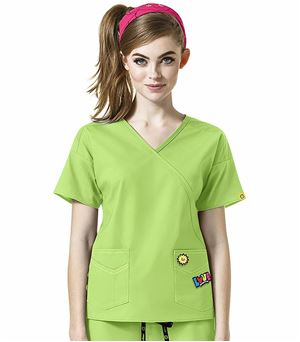 I Love WonderWink Women's Mock Wrap Scrub Top-6288