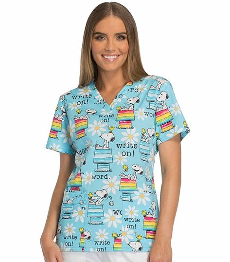 Tooniforms Disney Women's Peanuts V-Neck Scrub Top-TF647